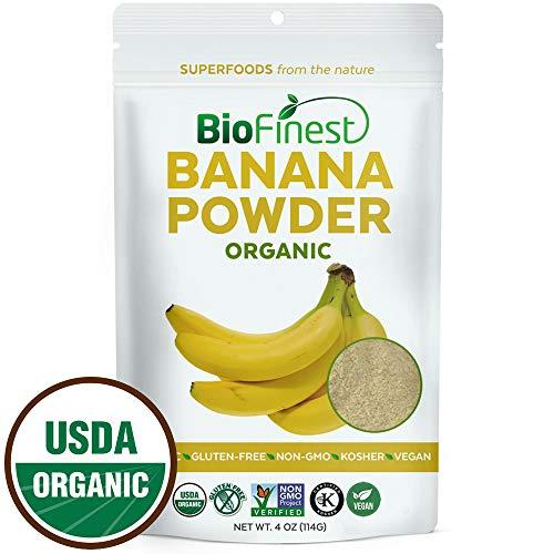 Biofinest Banana Powder - 100% Pure Antioxidants Superfood - USDA Certified Organic Kosher Vegan Raw Non-GMO- Boost Digestion Weight Loss - Fresh Fruit for Smoothie Beverage (4 oz Resealable Bag)