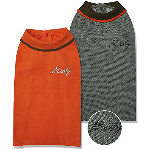 Blueberry Pet Pack of 2 Custom Personalized Back to Basic Cotton Blend Dog Polo Shirts w/Embroidered Name, Orange and Olive Green, Back Length 10