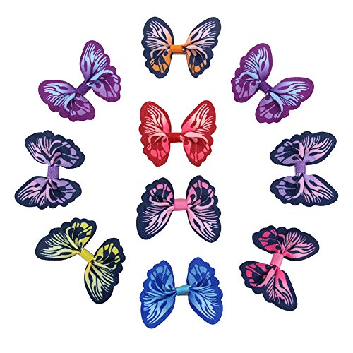 7Rainbows 10pcs Butterfly Hair Bows with Clips Barrettes For Girls Teens Toddlers Kids -