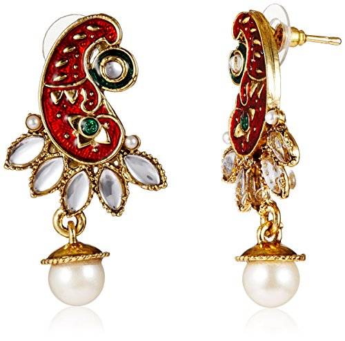 Ava Traditional Drop Earrings for Women (Red) (E-VS-1801)