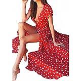 Women Long Dress Daoroka Sexy V-neck Polka Dot Print Spaghetti Split Boho Long Maxi Skirt Cocktail Casual Beach Dress (L, Red)