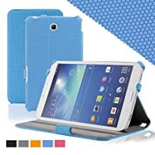 KHOMO ® Slim Folio Cover Case Blue With Hand Strap for Samsung Galaxy Tab 3 7.0'' Tablet (GT-P3200 / 3210)