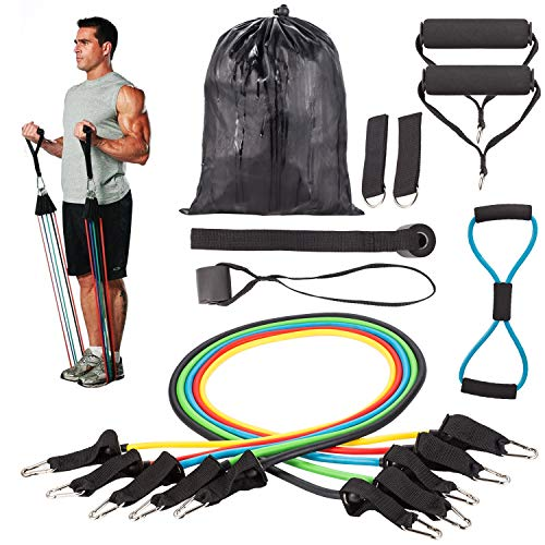 🥇 Resistance Bands Correas Set Workout Bands 12 pcs – 5 Fitness Bandas Elasticas en Látex