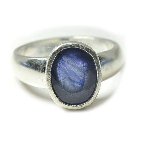 Anillo plata piedra azul hombre