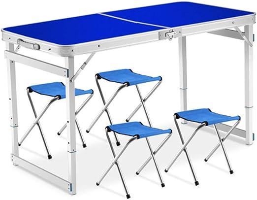 Ryyland-Home Mesa de Cama para Laptop Altura portátil Mesa Plegable y 4 sillas Set-Aluminio Ajustable Tabla Deformación for de Interior y al Aire Libre Uso Mesa Plegable Multifuncional (Color : Blue): Amazon.es: