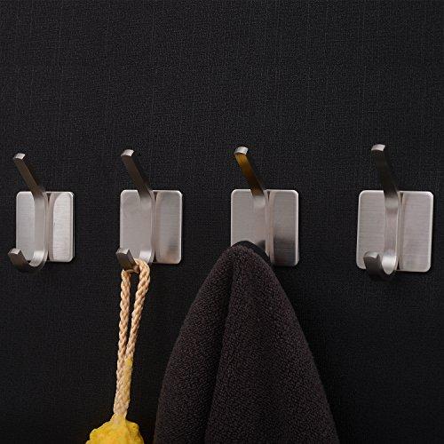 YIGII Towel Hook/3M Hooks - Adhesive Hooks Bathroom Wall Hooks Bath Show Robe Hook Self Adhesive Coat Hook Stick on Wall Stainless Steel Brushed 4-Pack by YIGII (Image #1)