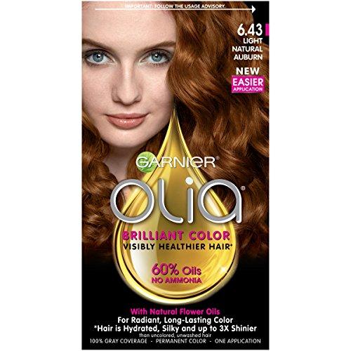 Garnier Olia Hair Color, 6.43 Light Natural Auburn, Ammonia Free Red Hair Dye (Packaging May - Hair Auburn Garnier Color
