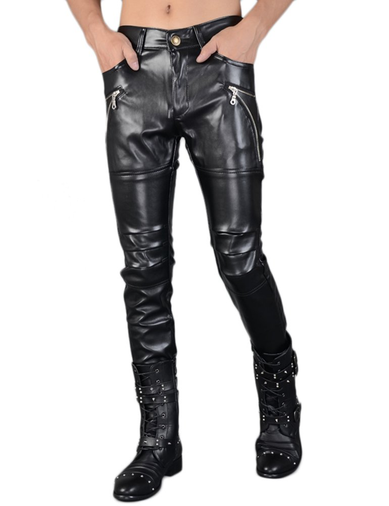 Idopy Men`s Rock Punk Hip Hop Faux Leather Motocycle Pants (30W x 40L, 149# Black)