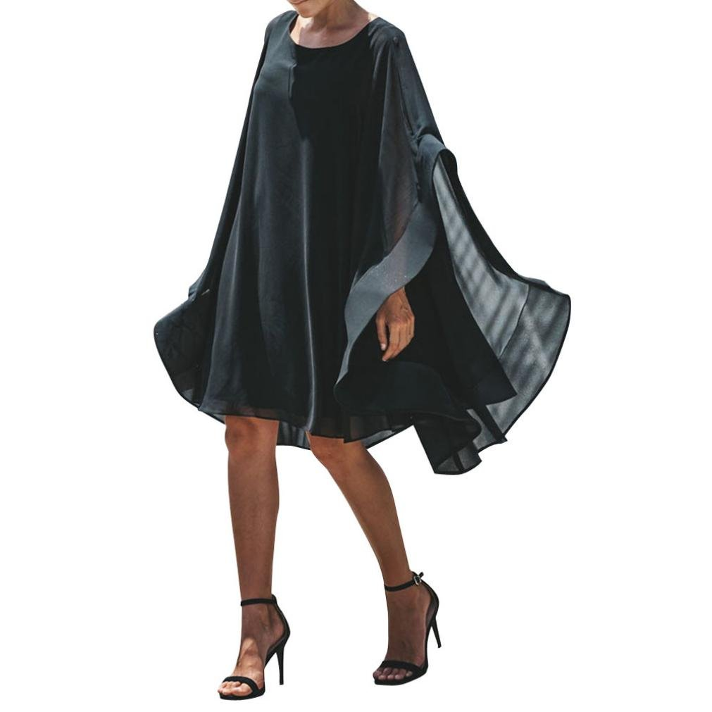 Overmal Women's Off Shoulder Chiffon Solid Beach Dress Party Casual Asymmetry Dresses