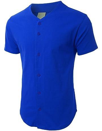 011068568019 Mens Baseball Team Jersey Button Down T Shirts Plain Short Sleeve Top