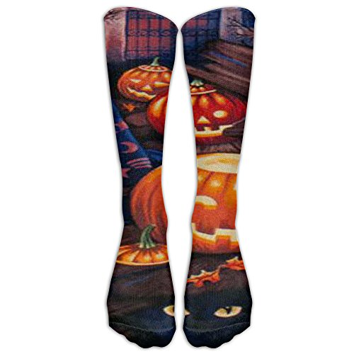 Women's Colorful Solid Sexy Knee High Socks Thigh Performance Graduated Compression Cosplay Stockings- HAPPY (Samhain Demon Halloween)