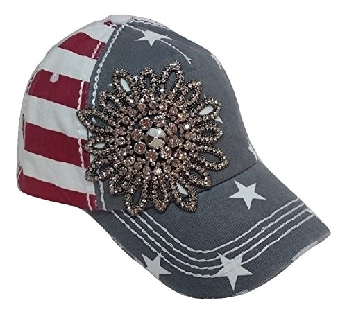 Olive & Pique Large Rhinestone Flower Bling USA Theme Patriotic Baseball Cap (Red White Blue)