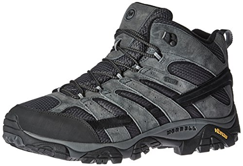 Mens Athletic Waterproof Boots - Merrell Men's Moab 2 Mid Waterproof Hiking Boot, Granite, 9 M US