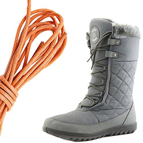 Dailyshoes Confort Des Femmes Bout Rond Mi-mollet Cheville Plat Haute Eskimo Fourrure Dhiver Bottes De Neige, Orange Gris