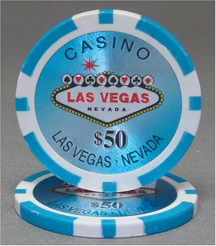 25 $50 Las Vegas 14 Gram Laser Graphic Poker Chips (14 Gram Graphic Laser)