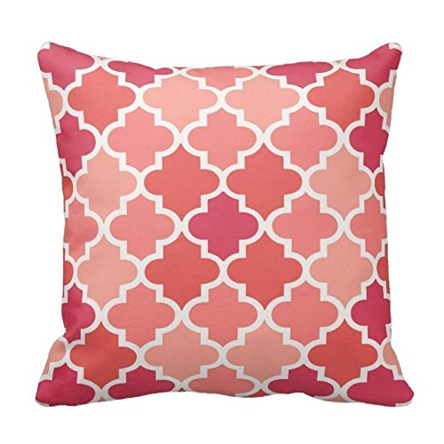 Coral Pink and White Decorative Cushion Covers Throw Pillow Case Moroccan Quatrefoil Pattern Print Square Two Sides 16X16 Inch
