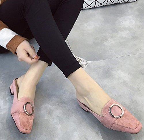 Qingchunhuangtang On sandali il Estate Un Baotou ciabattine con Slip Pink pedale quadrato rwxqrBzZp