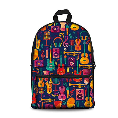 Instantarts Vintage Women Small Travel Backpack Child School Book Bags Guitar Pattern from Instantarts