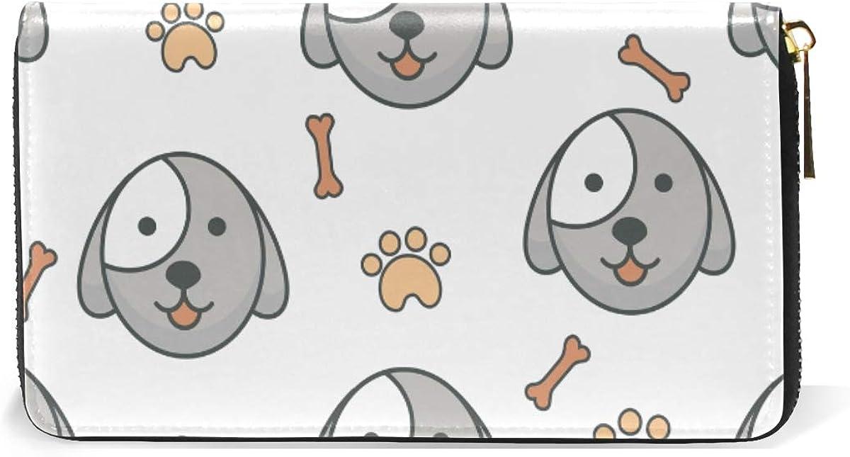 Cute Dog Bone Foot Wallet for Women Leather Zipper Phone Coin Purse
