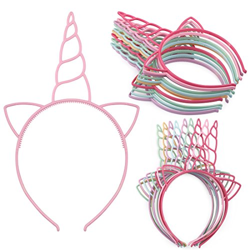 (XIMA 12pcs Unicorn Girls Headbands Children Plastic Hairbands Headwear Hair Accessory for Party Decorations(Spring color-Unicorn))