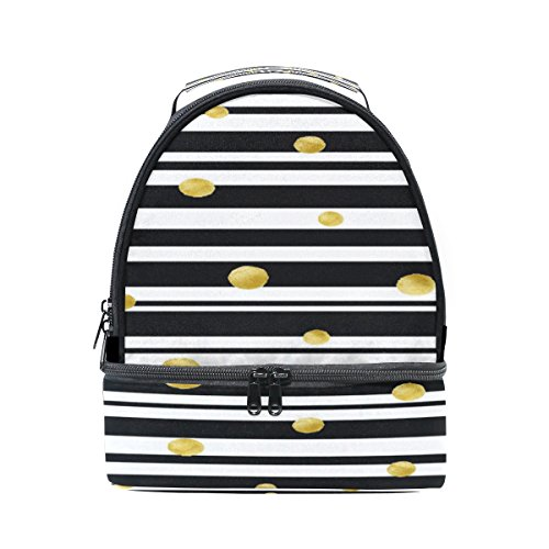 old Circles Stripe Portable Shoulder Double Lunch Box Bag Insulated Lunch Tote Outdoor Bag ()