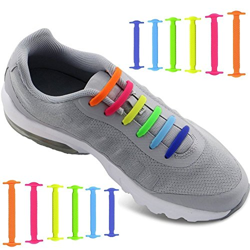 34be97552b135 tababy No Tie Shoelaces for Men and Women - Waterproof Silicon Flat Elastic  Athletic Running Shoe