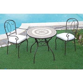 Forge\' table de jardin en fer avec mosaïque de pierre 78 cm: Amazon ...