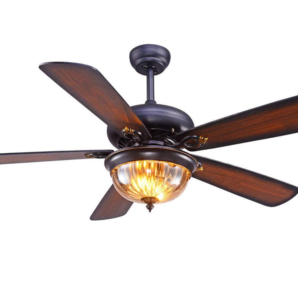 Fan Light American Country Living Room Dining Room Study 42 inch Home Ceiling Fan Light Antique Wood Leaf Electric Fan Light lamp