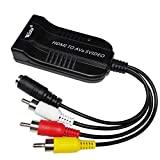 Wiistar Female HDMI to Male Composite 3RCA AV R/L Female S-Video Audio Vdieo Converter Adapter Support 720P/1080P with Male RCA Cable for PC Laptop Xbox PS3 TV STB VHS VCR Camera Blue-Ray DVD
