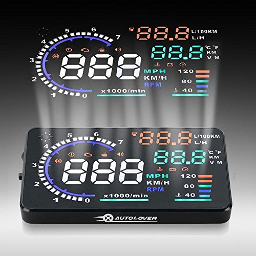 - AUTOLOVER A8 5.5 inch OBD II Car Windshield HUD Head Up Display with Speed Fatigue Warning RPM MPH Fuel Consumption