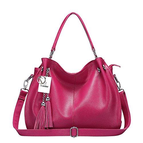 Bolso de cuero de la vendimia del bolso de la borla de la mujer del bolso de cuero genuino de Yoome Fashion - azul Rosa