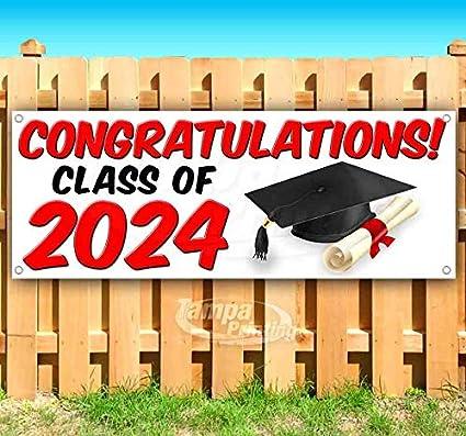 Felicitaciones. Clase de 2024 v2 cartel de vinilo resistente ...
