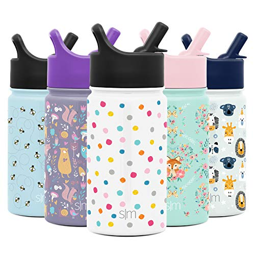 Simple Modern 14oz Summit Kids Water Bottles with Straw Lid Sippy Cup – Dishwasher Safe Vacuum Insulated Tumbler Double Wall Travel Mug 18/8 Stainless Steel Flask – Polka Play