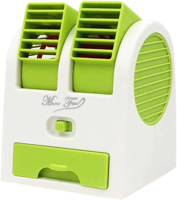 Desktop Dual Bladeless Mini Portable Fans Adjustable Angles Air Conditioning Air Water Cooler USB Electric Small Fan Green