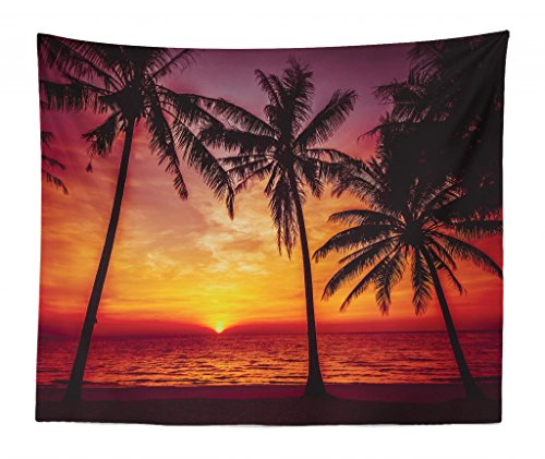 Lunarable Tropical Tapestry King Size, Sunset Tropical Beach Palm Trees Peaceful Ocean Evening View Resort, Wall Hanging Bedspread Bed Cover Wall Decor, 104 W X 88 L Inches, Orange Black Mauve