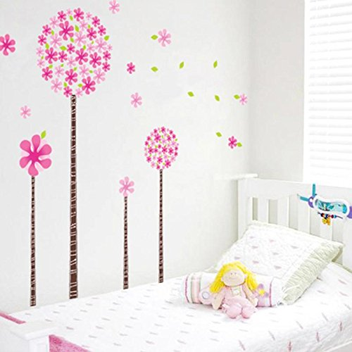 Home Product Pink Pandora Tree Wall Stickers for Kids Girls Room Wardrobe Decorationcreative Art Decals for Children (Blooming Pink Stationery)
