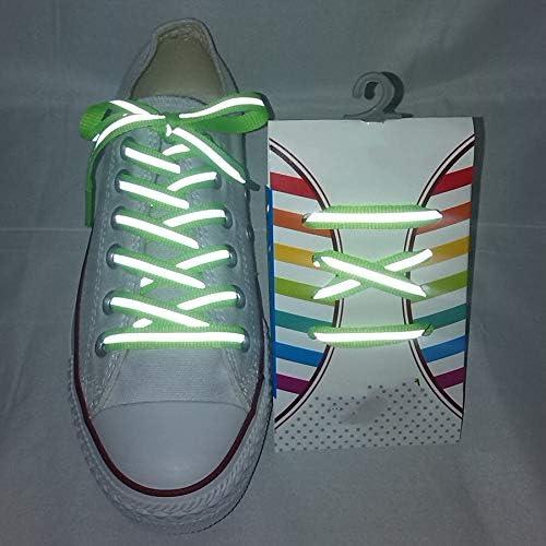 YJZG 1ペア120センチメートル平坦な反射ランナーの靴ひも安全ルミナス光る靴ひもユニセックススポーツバスケットボールキャンバスシューズについて (Color : GREEN, Length : 120CM)