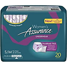Assurance for Women Maximum Absorbency Protective Underwear with Comfort Shape, Small-Medium, 20-Count