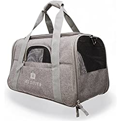 "Jet Sitter Super Fly - Airline Approved Pet Carrier Bag Soft Sided Under Seat for Small Dogs or Cats, Top Loading, TSA Travel (18""Lx10""Wx10.5""H, Gray)"
