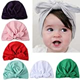 7pcs Baby Girl Hats Turban Knotted Headbands Head Wrap For Newborn Toddler Kid