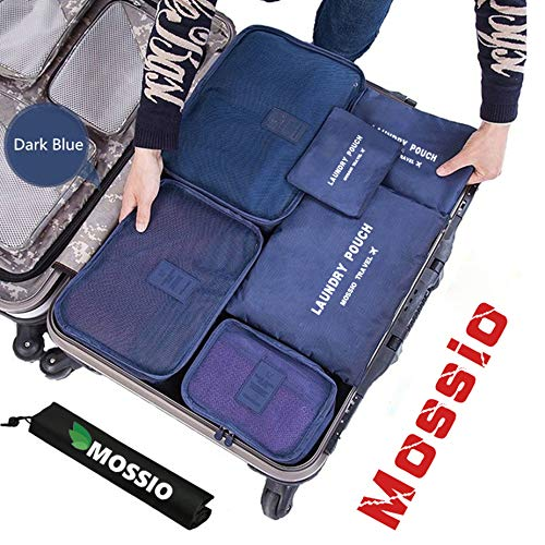 Packing Cubes,Mossio 7 Sets Waterproof Lightweight Laundry Organizer Dark Blue (Best Backpacks Brands List)