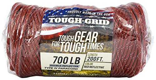 TOUGH-GRID New 700lb Double-Reflective Paracord/Parachute Cord - 2 Vibrant Retro-Reflective Strands for The Ultimate High-Visibility Cord - 100% Nylon - Made in USA - 100Ft. Red Reflective by TOUGH-GRID (Image #4)