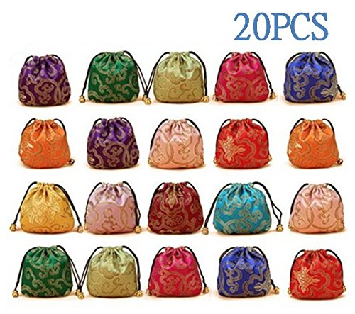 Jenifer2015 Silk Brocade Jewelry Pouch Bag, Drawstring Coin Purse, Gift Bag Value Set(20 pcs Silk Coin Pouch)