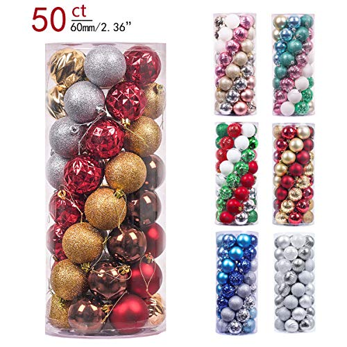 Valery Madelyn 50ct 60mm Woodland Red Brown Shatterproof Christmas Ball Ornaments Decoration,Themed with Tree Skirt(Not Included)