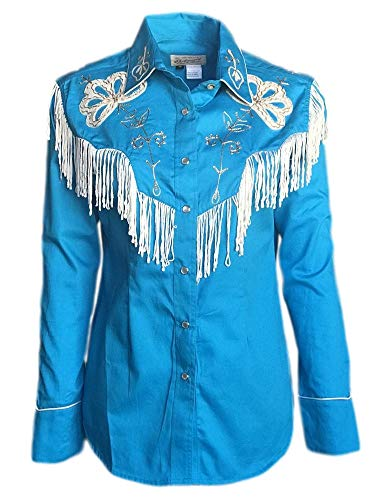 Rockmount Women's Vintage Western Embroidered Fringe Snap Shirt, Turquoise, L ()