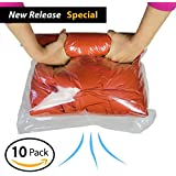 10 Travel Space Saver Bags (4 X-Large, 4 Large, 2 Medium) Minimize # Of Suitcases & Luggage Weight. Roll-Up Compression, No Need For Vacuum Machine Or Pump. Separate Clean Clothes From Dirty Ones