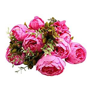 Makaor Artificial Flowers Fake Flower Bouquet Vintage Artificial Peony Silk Flowers Bouquet for Party Home Decorations (E, 6 Flowers & 2 Buds) 75