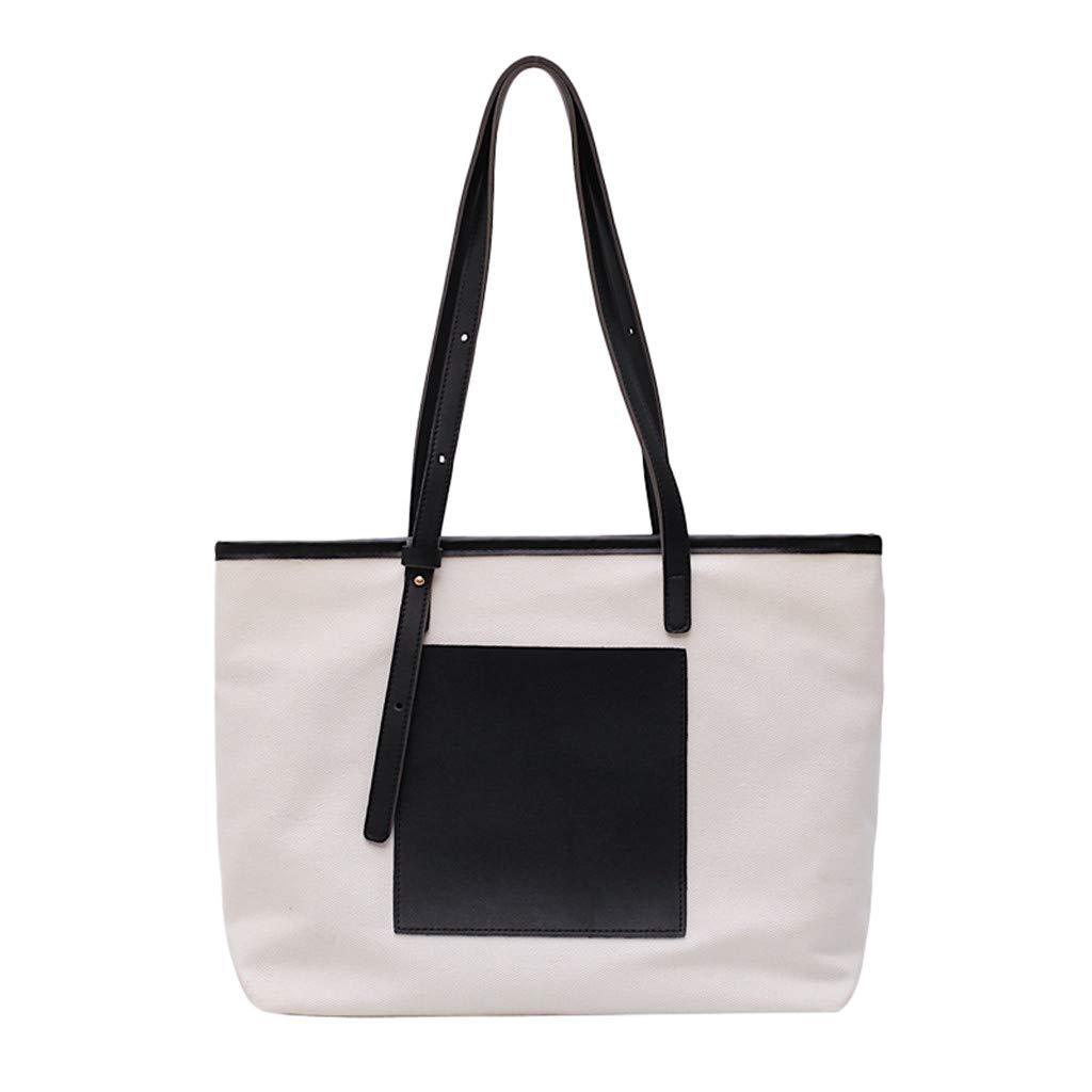 Women's Canvas Tote Shoulder Bag Big Capacity Purse Crossbody Bags Laptop Bag Handbag Business Work Travel Shopping (Black) by Cealu