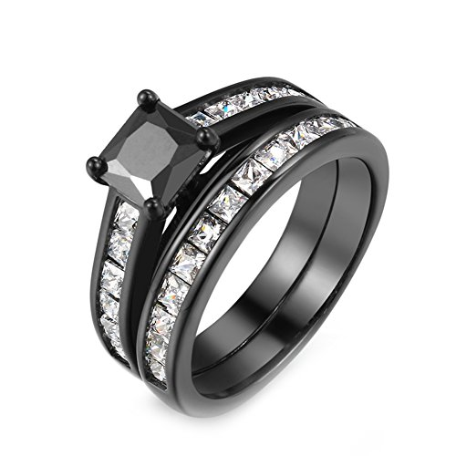 T&T ring Fashion Vintage Black And Clear Square Zircon Ring Jewelry for Women Wedding Engagement Rings (Heart Tiffany Style Key Ring)