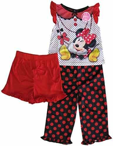0bc9020bc3dda Disney Little Girls Black Red Polka Dot Minnie Print 3 Pc Pajama Set 2-4T